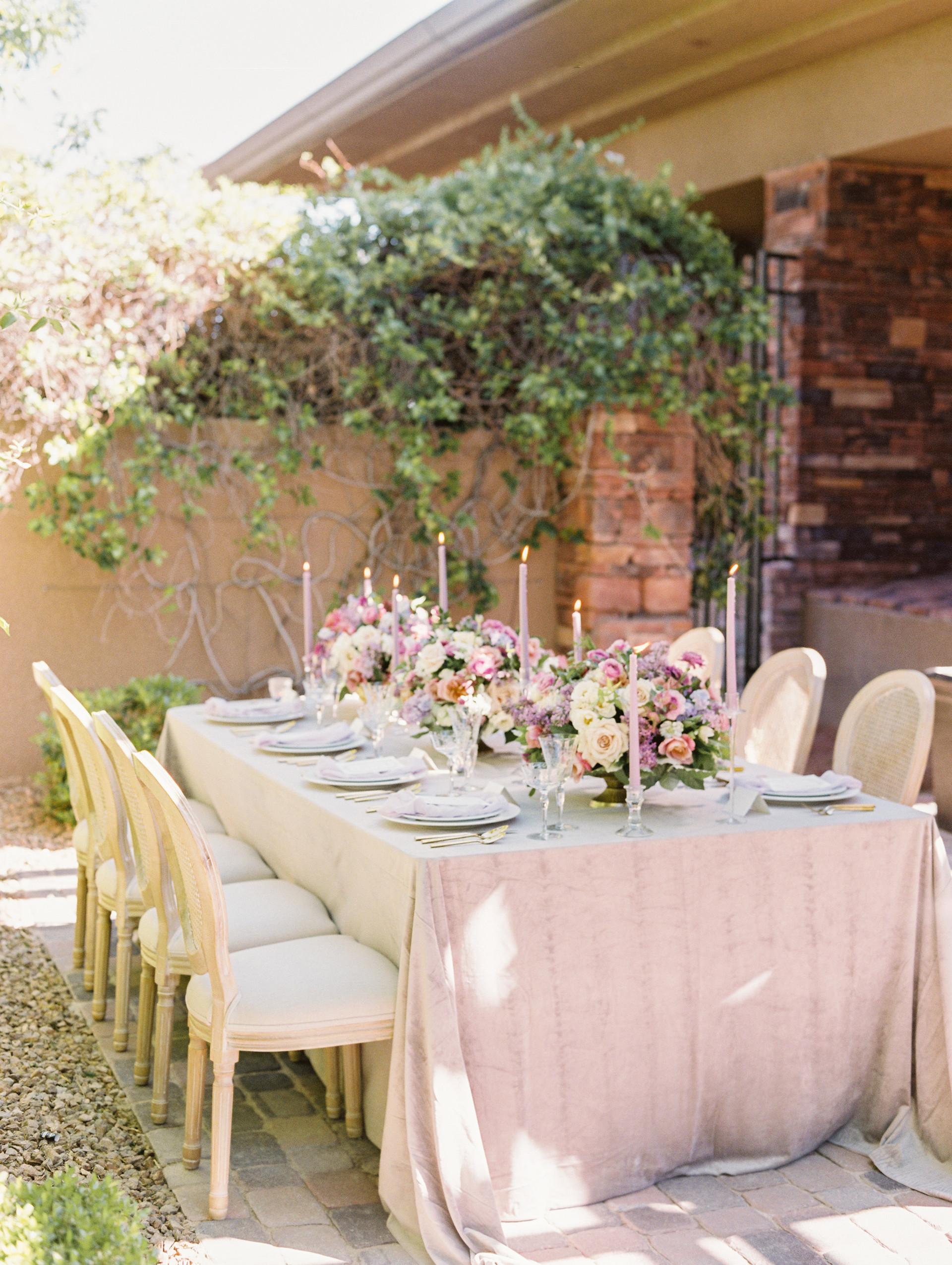 Lavender wedding tablescape. Photo: Gaby Jeter