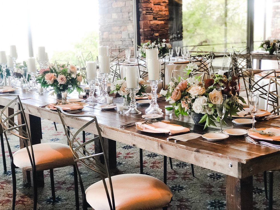 Rustic tablescape with blush and nude florals