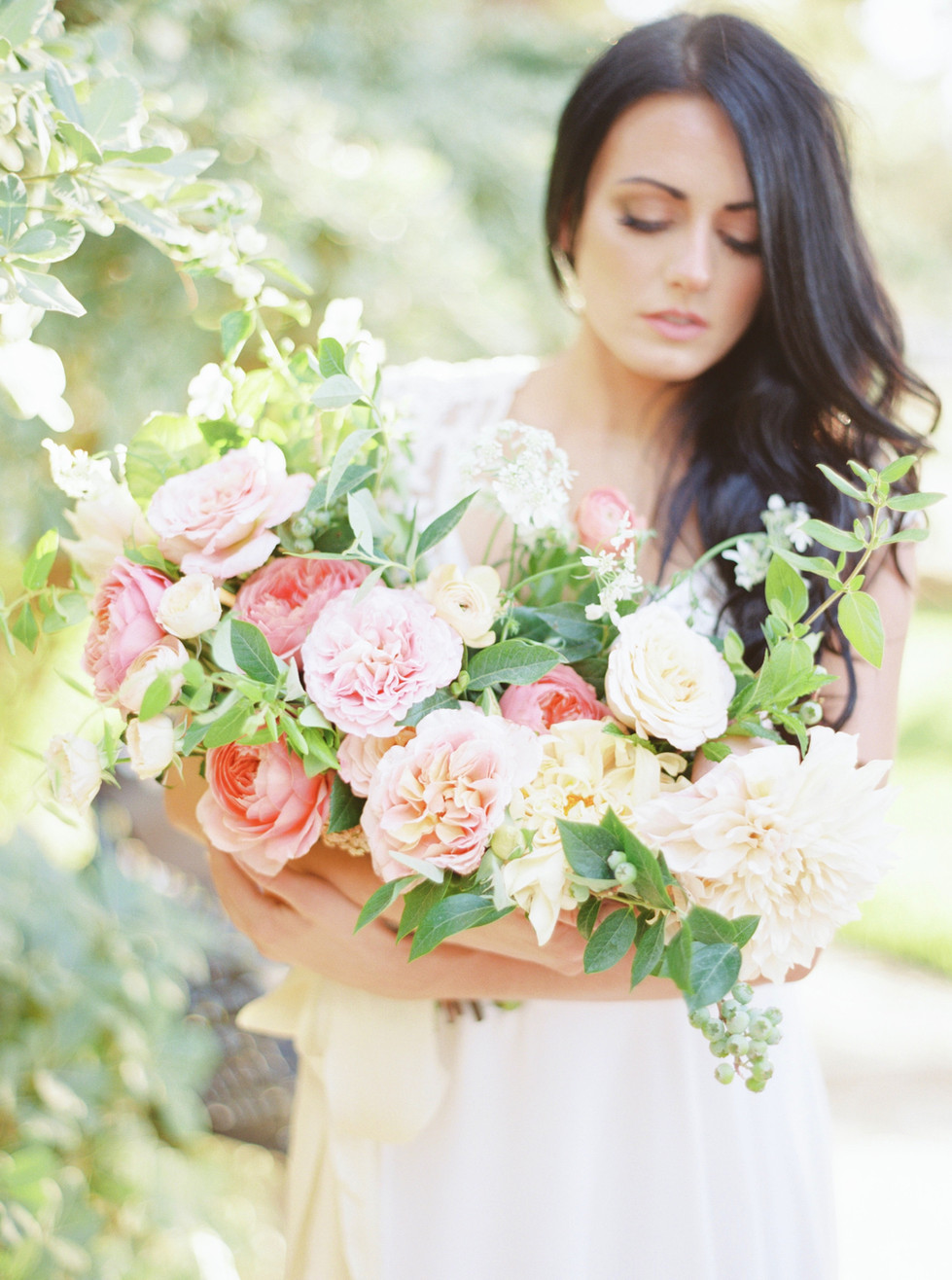 """Colorful bouquet of dahlias, garden roses, blueberries, and honeysuckle. Photo"""" Elyse Alexandria"""