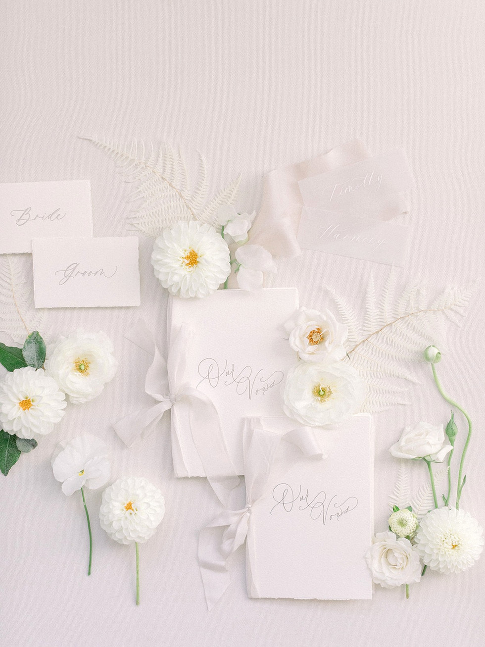 White floral and preserved ferns for styling. Photo: Sarah  Brown