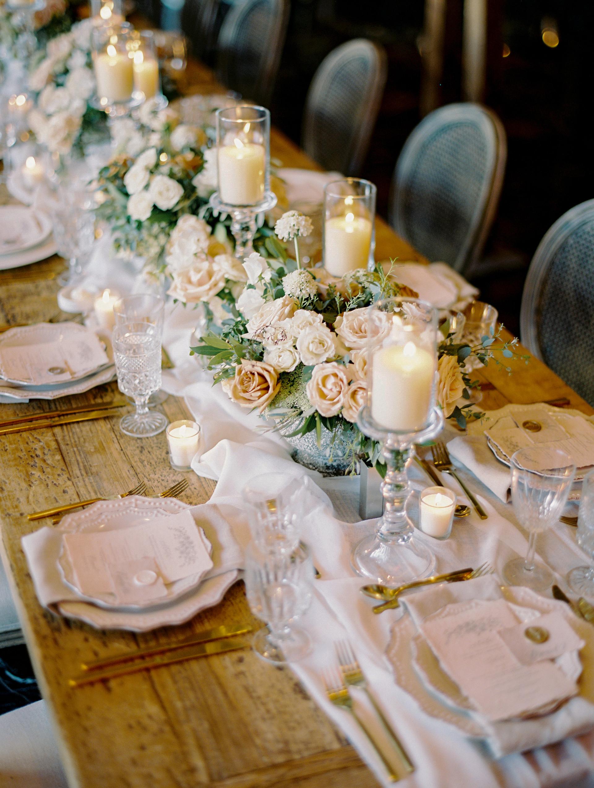 White, cream, and nude wedding reception. Photo: Gaby Jeter
