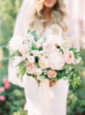 Garden-Inspired Blush and White Bridal Bouquet by City Blossoms, Las Vegas