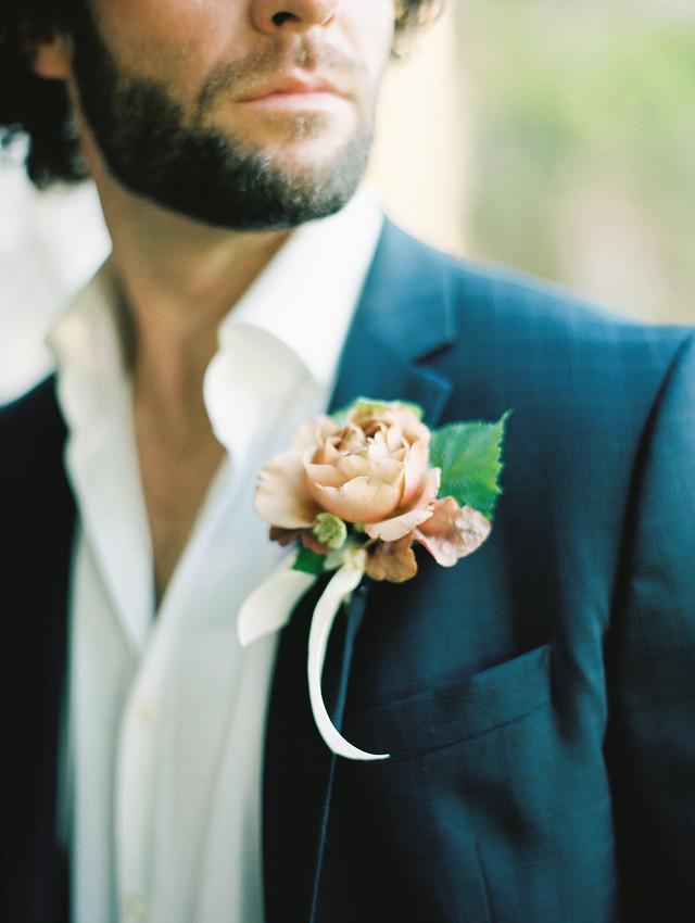 Koko Loko rose, and garden foliage, tied with silk ribbon. Photo: Shannon Elizabeth