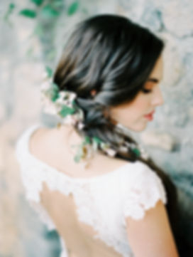 Delicate White Flowers- Wedding Hair Style