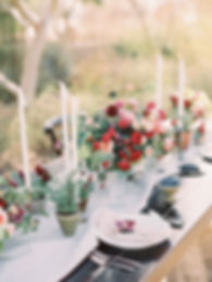Organic Weddng Tablescape with Flowers and Potted Plants