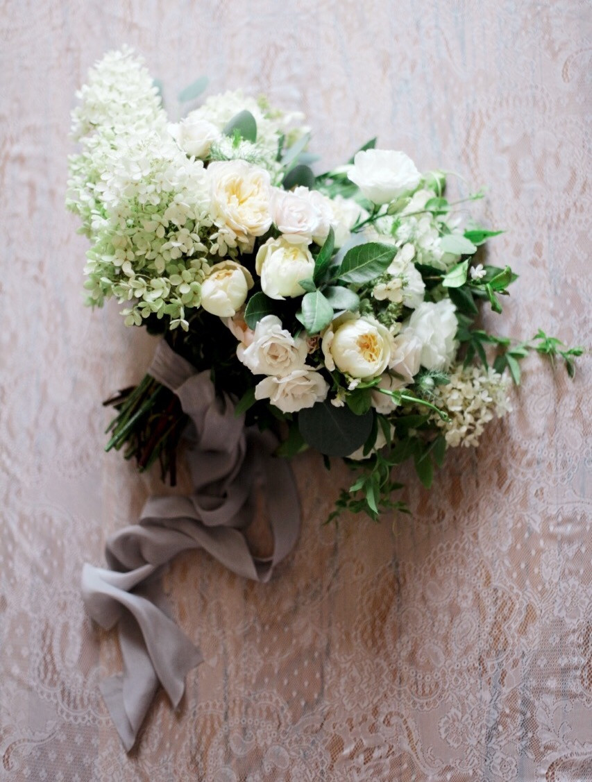 Classic white and ivory bridal bouquet with grey silk ribbons