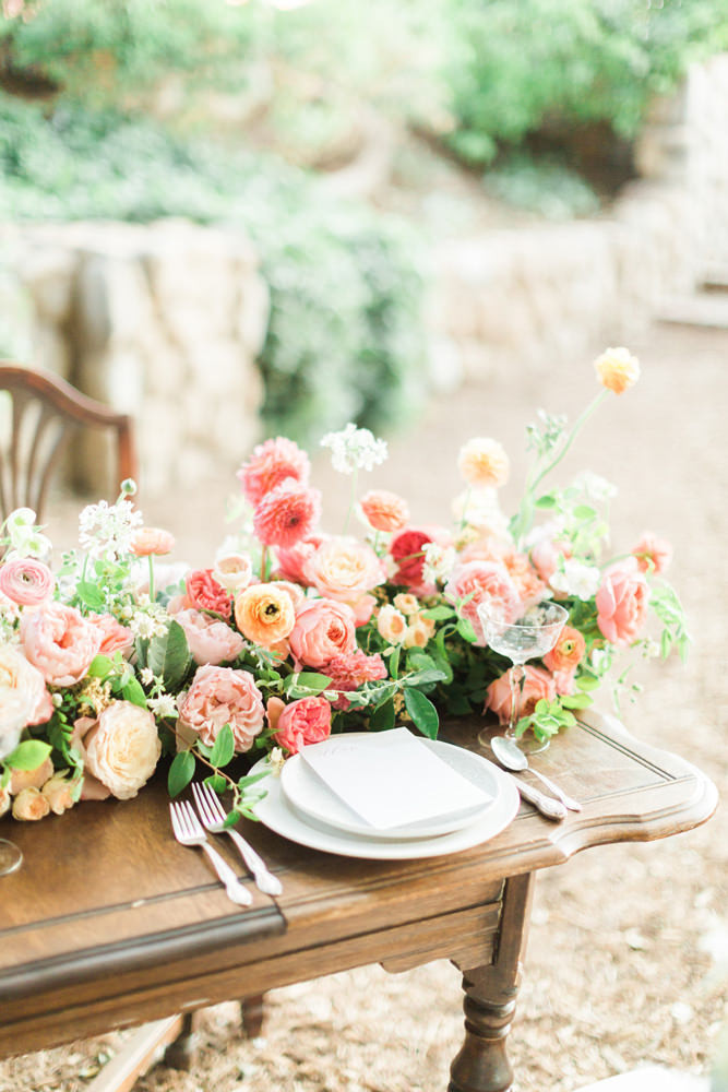 Colorful table floral runner. Photo: Elyse Alexandria