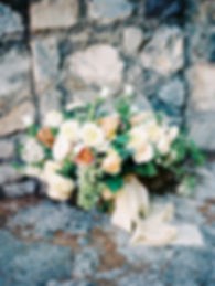 Garden-Inspired Bridal Bouquet in Peach, Green and White