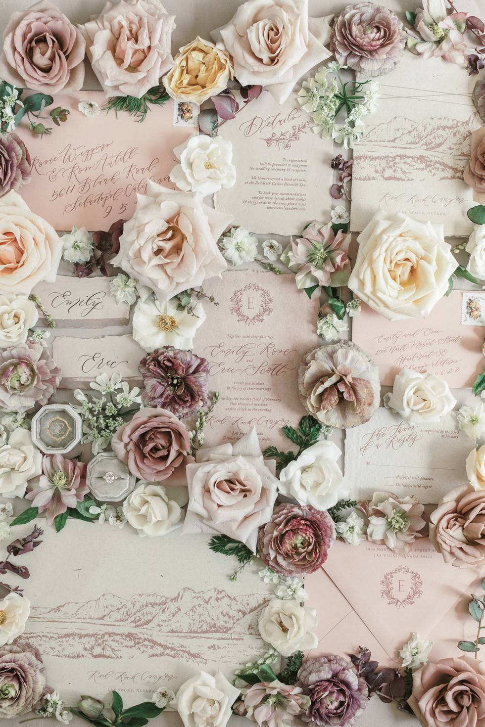 Mauve and dusty blush styling blooms. Photo: Ryan Lindsay