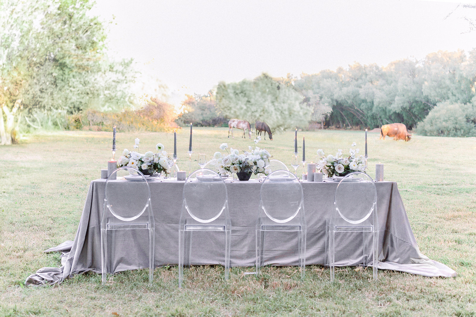 Dove grey wedding tablescape. Photo: Sarah Brooke