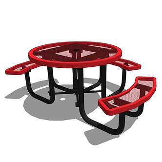"""46"""" Round Portable Table - Expanded Metal or Perforated - 3 Seat"""