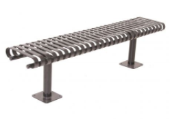 KC7 - Curved Strap Metal Backless Bench