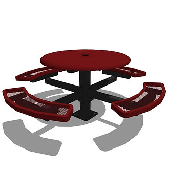 "46"" Round Pedestal Solid Top Picnic Table - In Ground or Surface Mount"