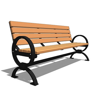 6' Plaza Avenue Back Metal Strap Bench