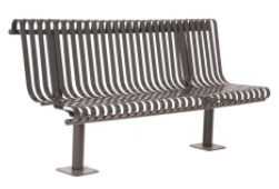 KC6 - Curved Strap Metal Straight Back Bench