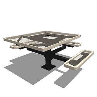 46 Square Pedestal Table - 3 Seat