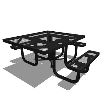 46 Square Portable Accessible Table - 3 Seat
