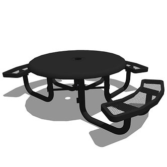 46 Children's Round Solid Top Portable Table - 3 Seat