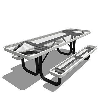8' Portable Rectangular Picnic Table 2 Sided Accessible