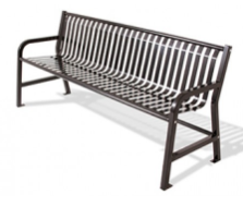 SQ2 - 6' Square Tube Strap Metal Straight Back Bench