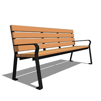 6' Plaza Recycled Straight Back Bench
