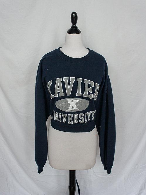 Upcycled Xavier University Open Back Crewneck