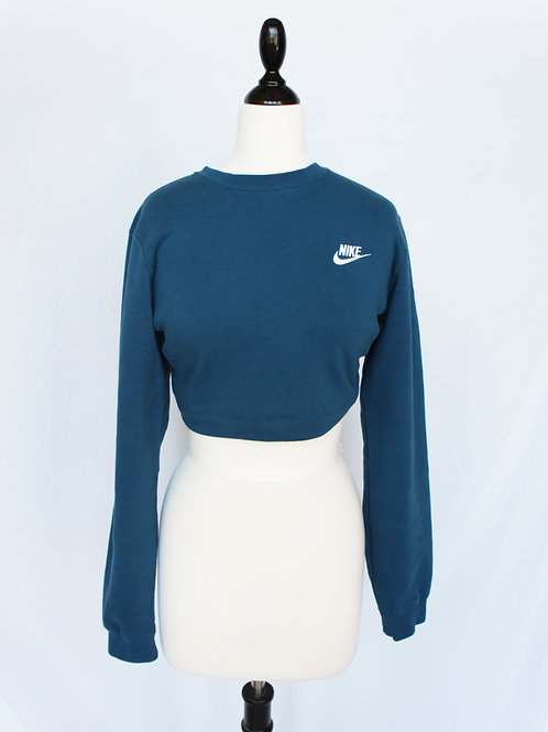 Upcycled Nike Tie Back Crop Crew Neck