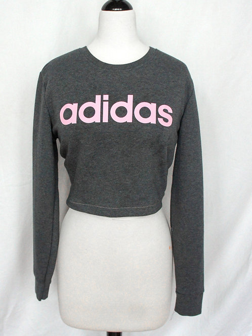 Upcycled Grey and Pink Open Back Crewneck
