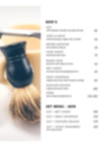 Barber 25 men's menu