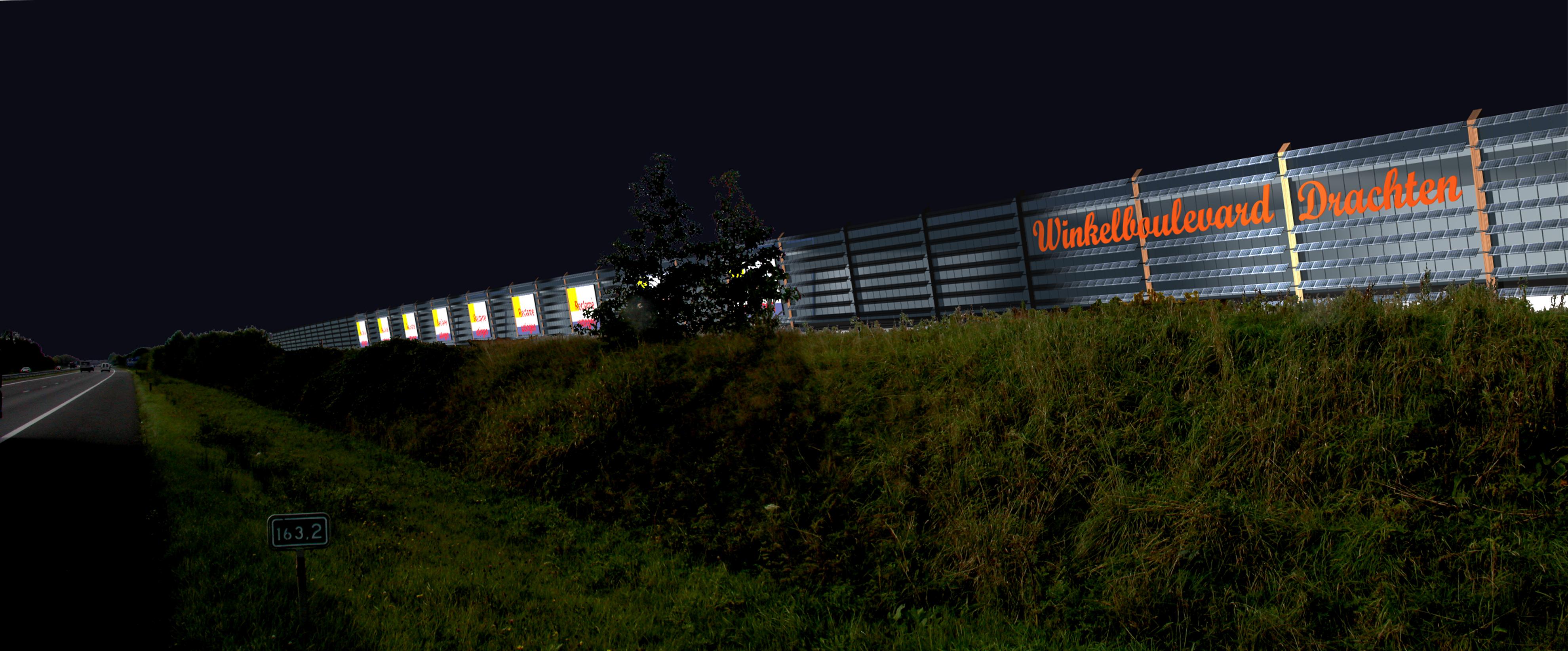 Uitbreiding winkelcentrum Smallingerland nachtopname