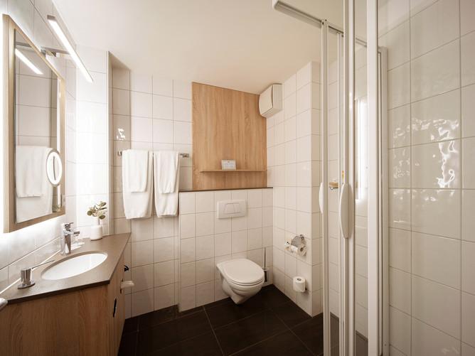 Hotel Spalentor Basel 1305 Standard Einzelzimmer Badezimmer standard single room bathroom