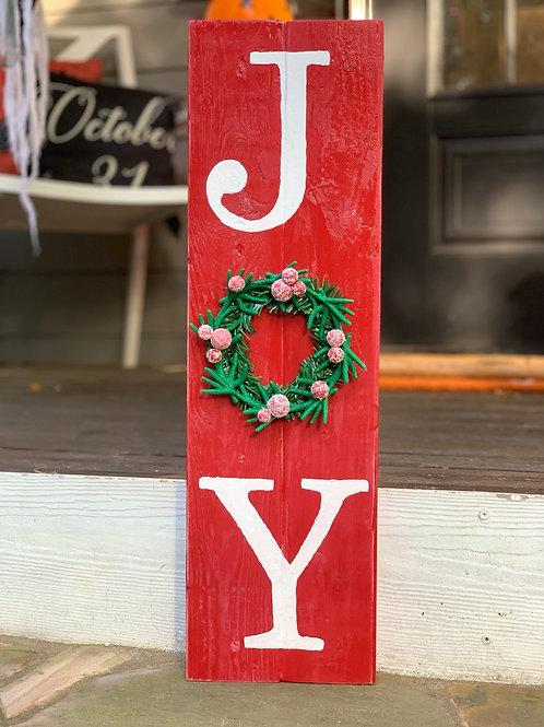 Joy Raised Wreath Woodwn Sign