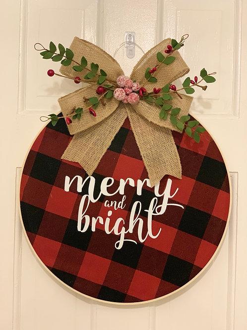 Merry & Bright 14 inch Door Hanging Wreath
