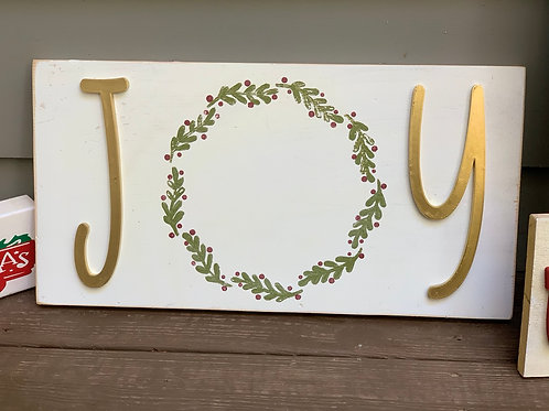 Joy With Painted Wreath Wooden Sign