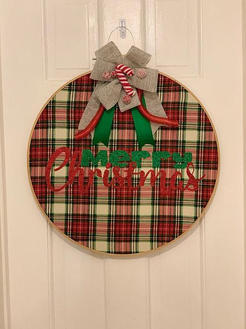 Merry Christmas Plaid Door Hanger 18 inch