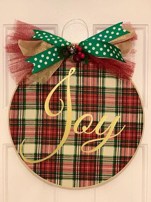 Plaid Joy 14 inch Door Hanger