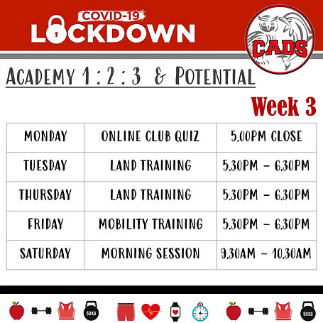 Covid 19 lockdown Week 3 land training A