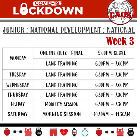 Covid 19 lockdown Week 3 land training J