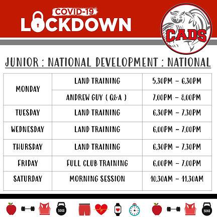Lockdown training Jnr, Nat Dev and Nat.j