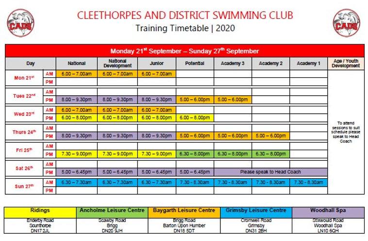 Timetable COVID 2020 season (21st Sept -