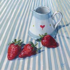 Jug and strawberries