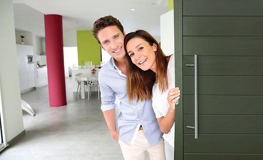 COUPLE HAPPY WITH ALUMINIUM ENTRNACE DOOR