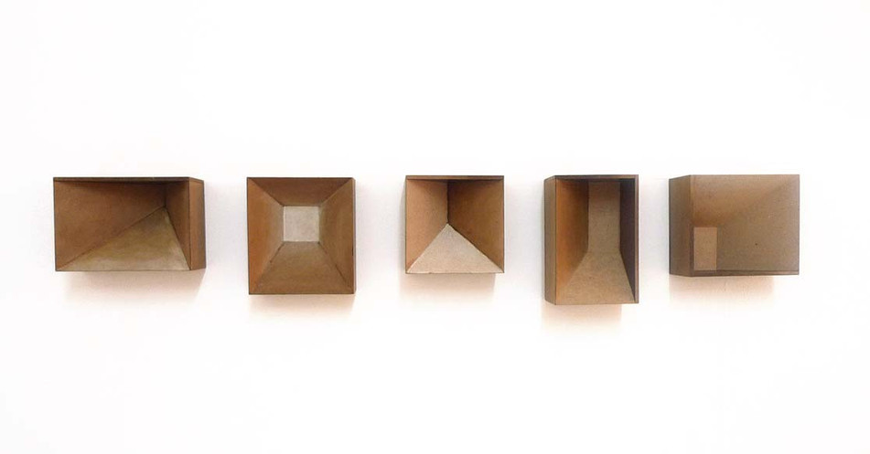 Five brown boxes, 2013, wood stain on MDF, 35 x 185 cm, overall