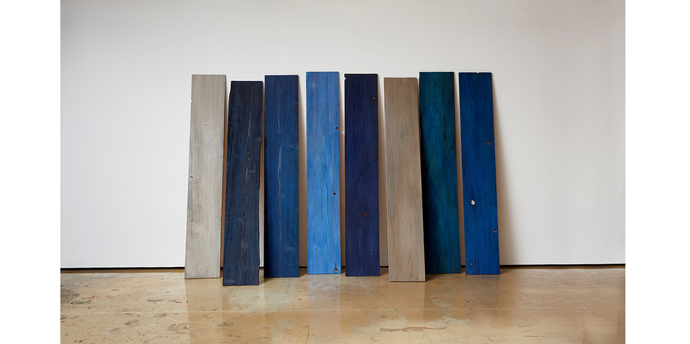 Leaned Blue, 2019, Mixed media, 180 x 265 cm, overall ( each 180 x 30 around)
