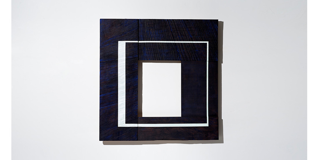 White Square with light green, 2019, acrylic on wood, 100 x 100 cm