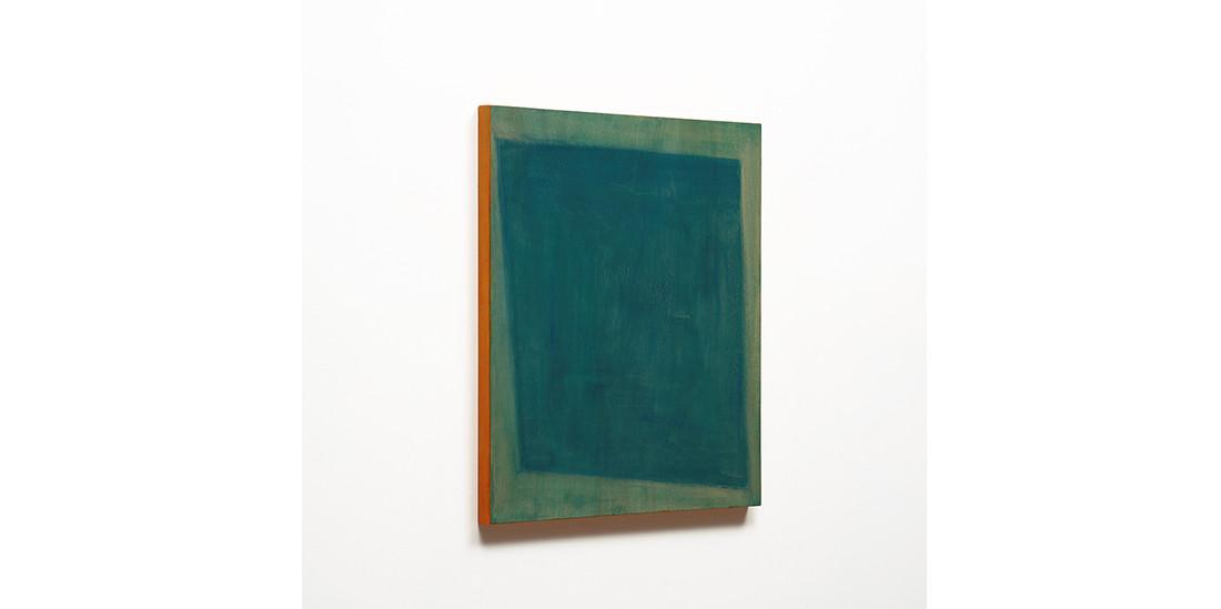 Green with Orange side, acrylic on wood, 53 x 45cm