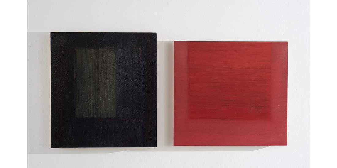 Red Square-Closed, 2013, acrylic on wood, 60 x 55 cm_Red Square-Opened, 2013, acrylic on wood, 55 x 60 cm