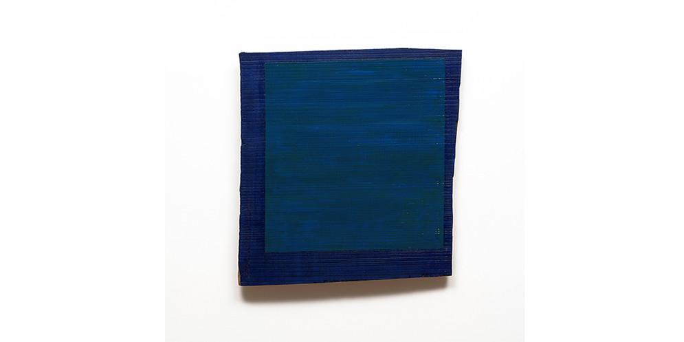 Crooked Blue, acrylic on wood, 54 x 51 cm