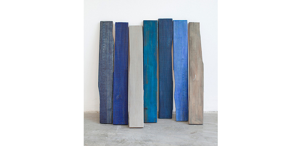 Nonstructural-Leaned Blue, 2013, acrylic and wood stain on wood, 64 x 68 cm, overall