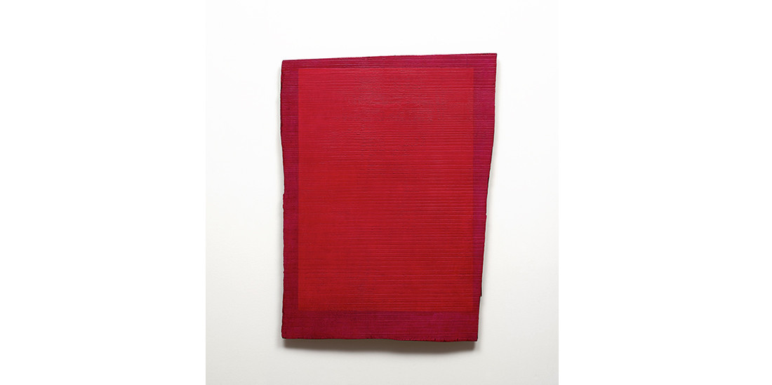 Crooked Red, acrylic on wood, 75x 57 cm